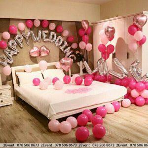 Trang trí phòng tân hôn lãng mạn với bong bóng