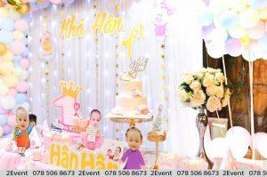 Backdrop trang trí sinh nhật cho bé gái